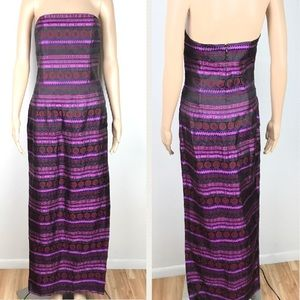 Delicate ethnic pattern purple strapless dress